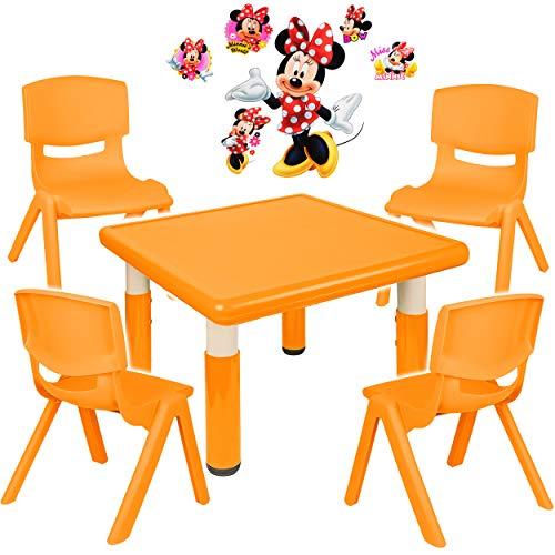 alles-meine.de GmbH Sitzgruppe für Kinder - Tisch + 4 Kinderstühle - Größen & Motiv & Farbwahl - Disney Minnie Mouse / orange - höhenverstellbar - 1 bis 8 Jahre - Plastik - für I..