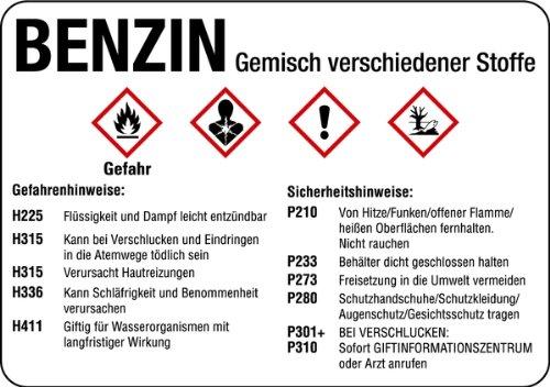 Aufkleber Benzin gemäß GHS Folie selbstklebend 74 x 105 mm (Gefahrstoff, Gefahrstoffkennzeichnung) praxisbewährt, wetterfest