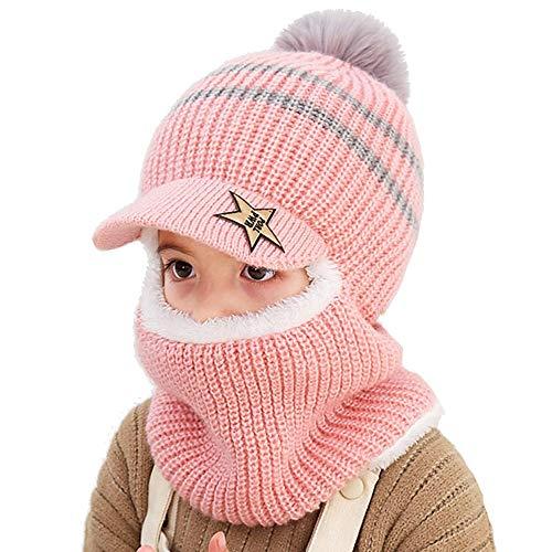 Uniyoung - Gorro de invierno cálido para bebé, bufanda para niños y niñas con orejas, capucha, pasamontañas, forro polar para niños, gorro de lana con visera para esquí y nieve para