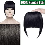 Frange Extension a Clip Cheveux Naturel Postiche Cheveux Humain Bang Fringe Vrai Cheveux Lisse - #01 Noir foncé