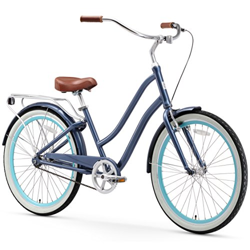 sixthreezero EVRYjourney Women's Single Speed Step-Through Hybrid Cruiser Bicycle, 26' Wheels and 17.5' Frame, Navy with Brown Seat and Grips