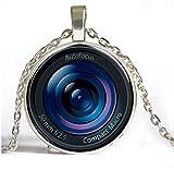Colgante de lente de cristal para cámara de fotos Steampunk, cadena de plata