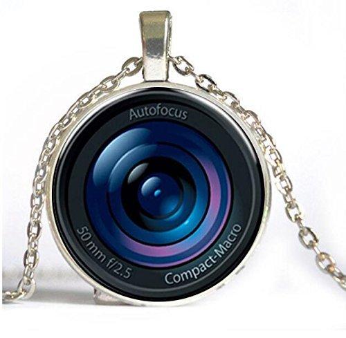 Collar con colgante de lente de cámara de cristal con colgante de...