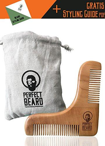 Natürlicher Bartpflegekamm von PerfectBeard | Professionelle Bartpflege | Bartkamm | Rasurschablone | Ergebnisse wie vom Barbier | perfektes Styling | Saubere und symmetrische Konturen | Stofftasche