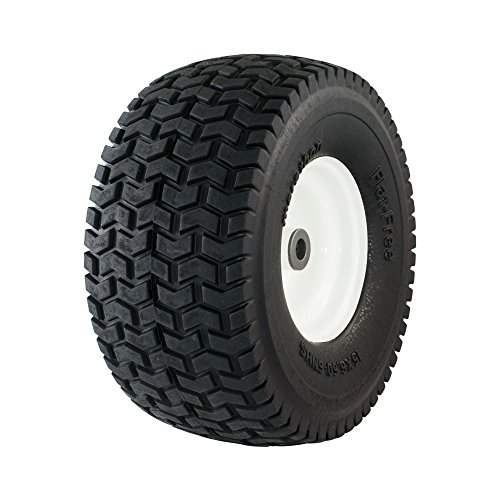 Marathon 30426 15x6.50-6' Flat Free Lawnmower Tire on Wheel, 3' Hub, 3/4' Bushings