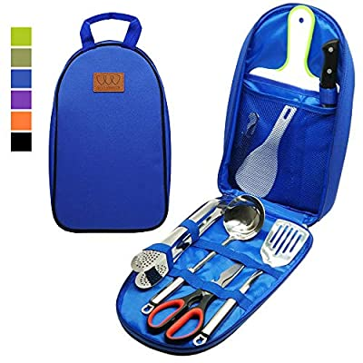 8pcs Camping Cookware Kitchen Utensil Organizer Travel Accessories Set - Portable Bbq Camp Cookware Utensils Travel Kit with Water Resistant Case, Cutting Board, Rice Paddle, Tongs, Knife (Black)