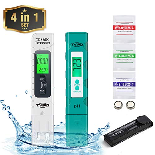 Digital PH Meter and TDS Meter, Tvird 4 in 1 Set with TDS PH EC Temperature, 0.01 High Accuracy PH Tester,0-14 PH Measurement Range, Water Quality Tester for Hydroponics,Aquariums, Drinking Water,Pool