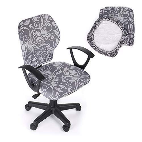 BTSKY Modern Simplism Style Stretchable Separate Chair Cover - Removable Resilient Chair Cover For Office Rotating Chair Swivel Chair Computer Chair Armrest Chair (No Chair) (Grey)
