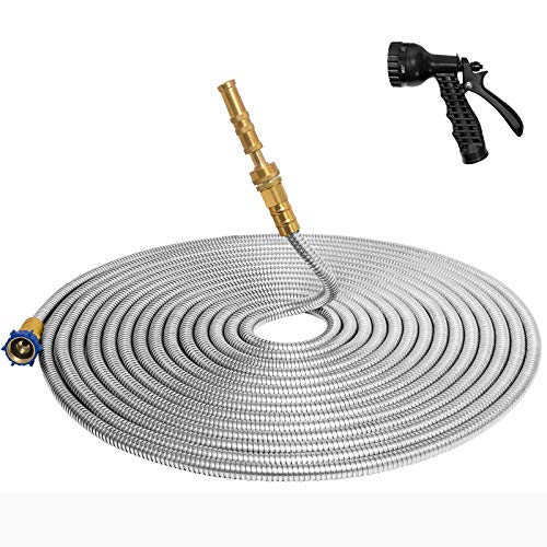 TUNHUI 304 Stainless Steel Garden Hose with Solid Brass Nozzle Outdoor Hose, 7 Function Spray Gun Solid Metal Fittings Water Hose Flexible Durable Kink Free and Easy to Store (25FT)
