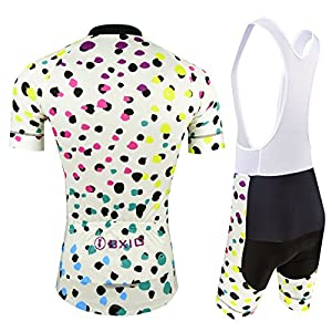 BXIO Maillot Ciclismo Mujer, Ciclismo Conjunto de Ropa con Culotte Pantalones Acolchado 3D para Deportes al Aire Libre Ciclo Bicicleta, Florales, S
