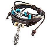 Qiuday Wickelarmband mit Perlen, Ketten, Flechtelement und Lebensbaum Anhnger, Magnetverschluss, Armband, Damen Multilayer Handmade Wristband Lederarmband Armreif