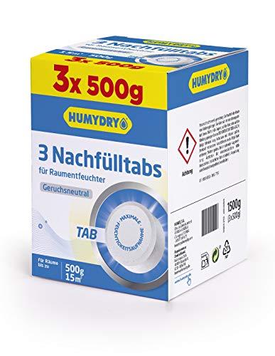 HUMYDRY Nachfüllpackungen TAB 3x500g Neutral für Luftentfeuchter ohne Strom