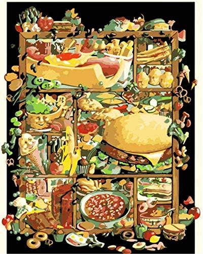 Kits de pintura por números para adultos Kits de regalo de pintura al óleo de bricolaje para adultos principiantes Decorar regalos Hot Dog Burger Photo 40X50cm (sin marco)