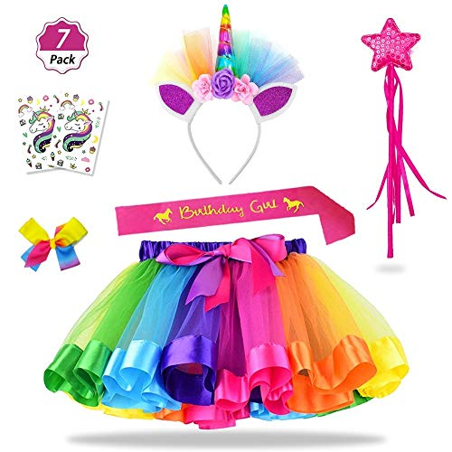 Daisyformals Unicorn Rainbow Tutu Skirt Set (7 Pack) with Unicorn Headband,...