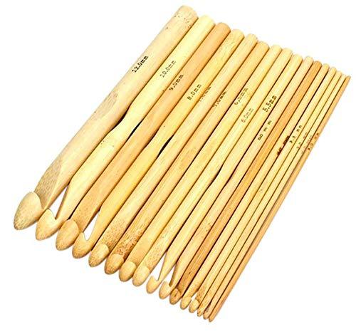 Häkelnadeln 16 Stück Bambus 2-12mm Häkelnadel Set hochwertig