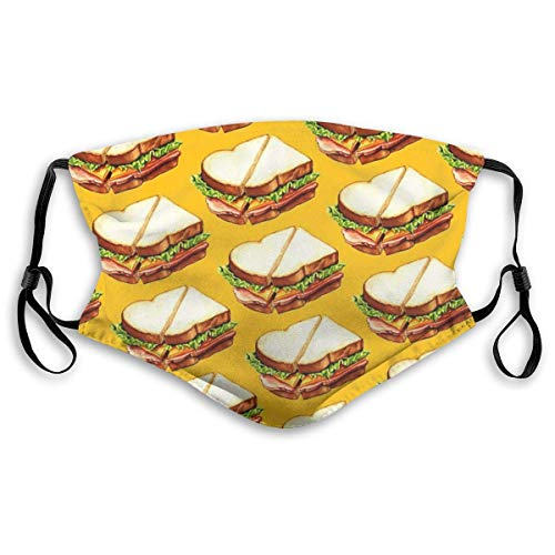 Ham Sandwich Pattern Throw Pillow New Sun-Proof FunnyFace Mask Bandana Headwear For Men And Women