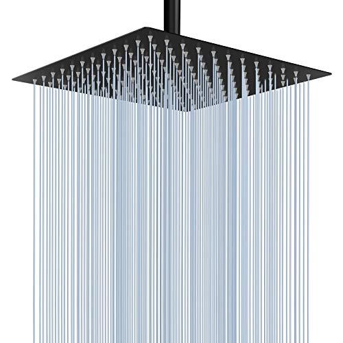 25 cm Großer Regenbrause - Voolan Quadrat Hochdruck Duschkopf aus Edelstahl - komfortables Duscherlebnis auch bei niedrigem Wasserdruck - installierbar an der Wand oder Decke (Schwarz)