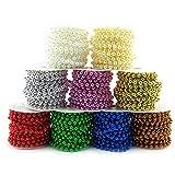 Sepkina Cadena de perlas decorativa para Navidad, boda, árbol de Navidad, guirnalda de perlas, precio básico 0,80 €/M (blanco, 6)