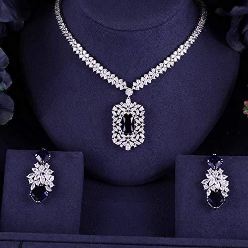 NNKKBH Pendientes de Collar de Boda para Mujer Accesorios Conjuntos de joyería Nupcial de circonita cúbica Completa Conjuntos de joyería Nupcial