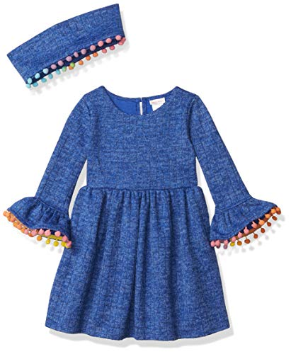 Youngland Girls' Brushed Knit Bell Sleeve Pompom Trim Dress and Scarf, 2-Piece Outfit Set, Blue, 4