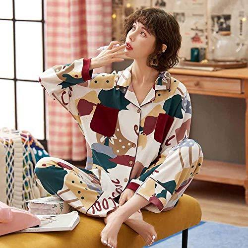 Conjunto de Pijama para Mujer, Ropa de Dormir de algodón, Suelta, Informal, de Manga Larga, con Parte Superior e Inferior, Traje, Cuello Vuelto, Ropa de Dormir, Ropa de Dormir-XXXL_75-90Kg