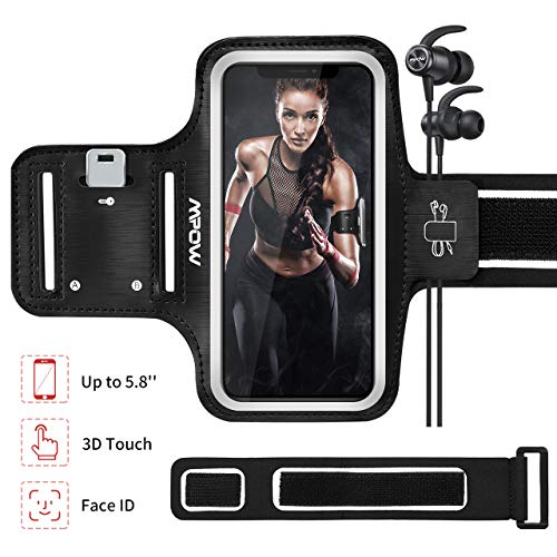 Mpow Running Armband for iPhone iPhone 11 Pro/X/8/7/6S/ 6 【Phones up to 5.8''】, Sweatproof Sports Armband with Extension Strap/Card Pocket/Key Holder and Earphone Holder, Suitable for Running, Jogging