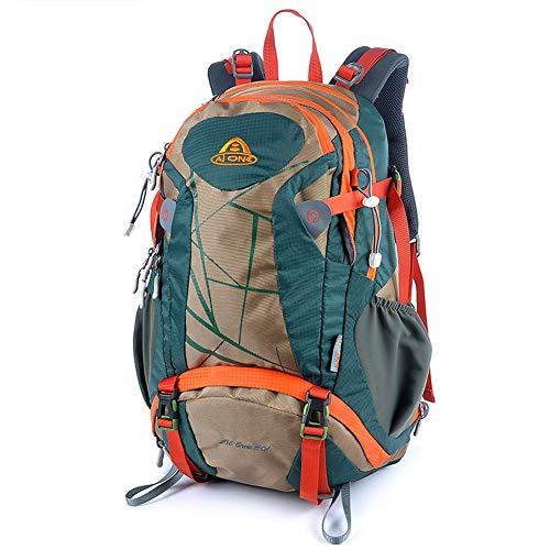 35L Wanderrucksack Bergsteiger Tagesrucksack Wasserdicht Trekkingrucksack Reiserucksack mit Regenschutz für Männer Frauen Outdoor Sport, Farbe, Orange