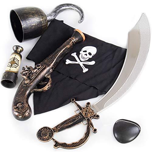 Caribbean Pirate Accessory Kit for Kids - Cool Extras for Kid Halloween Costume for Girls & Boys - Classic Plastic Cutlass Sword, Hook, Spyglass Telescope, Pistol, Eyepatch, & Cloth Bandana, 6 Pieces
