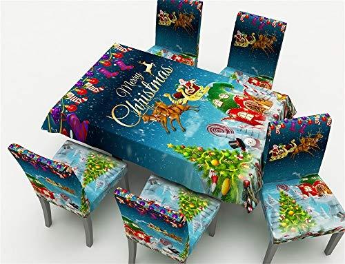 1 X + 4 Mantel cubierta de la silla X Juego de sillas de Navidad cubierta decorativa de estiramiento elástico Cubre Sillas del partido de Navidad for Mantel comedor sala de banquetes del hotel Cocina