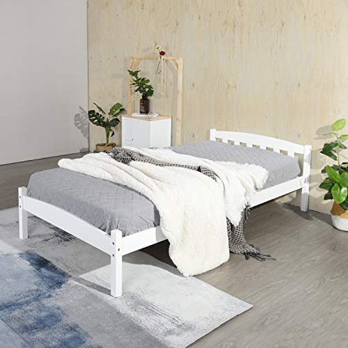 IPOTIUS Wooden Single Bed Frame Children Bed Adult Bed,Fits for 3ft 90x190cm Mattress,White