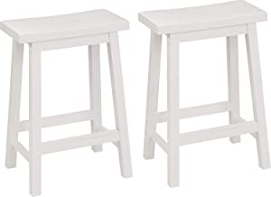 PJ Wood Classic Saddle-Seat 24-Inch Counter Stool, White, Set Of 2