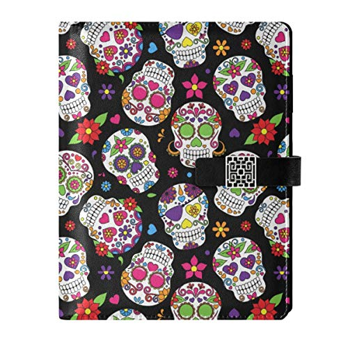Leather Notebook Journal Diary Notepad Travel Day Of The Dead Sugar Skull Refillable A5 Inner Filler Papers Ring Binder - Hardcover Notebook Gifts for Men & Women