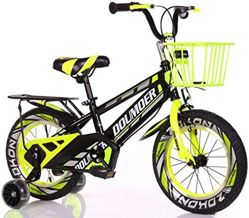 SHARESUN Bicicletas para Niños 12 14 16 18 Pulgadas De Bicicletas, Bicicletas Niños con Ruedas De Entrenamiento Y Mano De Frenos para Niños De Edad De 2-12 Años Niños,Yellow Flash + Frame,18 Inch