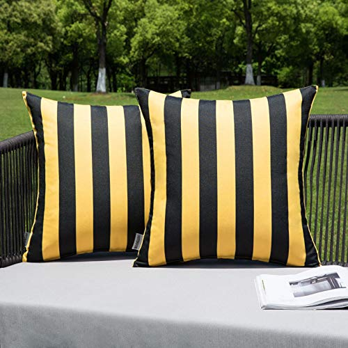 MIULEE Pack of 2 Outdoor Waterproof Cushion Covers Stripe Throw Pillow Cover Pillow Case Decorative for Garden Beach Park Bed Sofa Chair Bedroom Pillowcases 50x50 cm 20x20 inch Yellow and Black