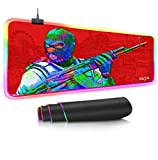 Mouse Pads RGB Gaming Mouse Pad Csgo Games Led Oversized 14 Lighting Mode and USB Mousepad Non-Slip Rubber Base and Waterproof Soft Mouse Mat for MacBook Pc (11.8X23.6in)