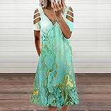 squarex Elegant Damen Kleid Kleider Sexy V-Ausschnitt Damen Asymmetrisches Kleid Wickelkleider Lässig Frühling Sommer Kleidung für Party Beach elegant Damen Kleid Kurzarm Hollow Out Sexy Kleid