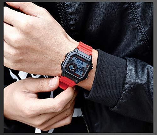 SANDA Relojes Mujer,El Nuevo Reloj Cuadrado, natación, Alarma Impermeable, Luminoso, Reloj para Estudiantes, versión Coreana del Reloj Deportivo de Moda Simple-Rojo Negro