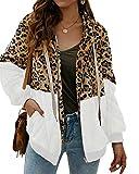 SUNNYME Sudadera Caliente y Esponjoso Tops Chaqueta Suéter Abrigo Jersey Mujer Otoño-Invierno Talla Grande Hoodie Sudadera con Capucha riou A-Blanco M