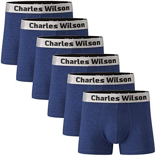 Charles Wilson 6er Packung Herren Boxershorts mit Beinansatz (Light Denim, Small)