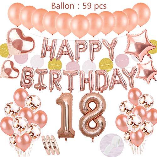 Geburtstagsdeko Rose Gold für 18.Mädchen:Helium Folienballons Happy Birthday Banner mit Paper Garland & Zahl 18 &30 Ballons &10 Konfetti Latex Luftballon &4 Stern Herz für Tochter Geburtstag Party