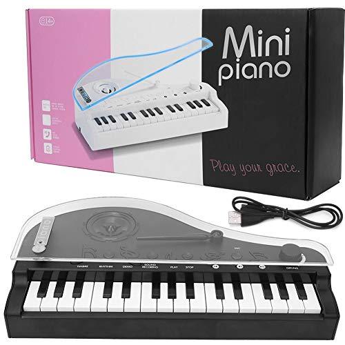 Zerodis Mini Teclado de 31 Teclas, Juguete de Piano, Juguete de Instrumento Musical de Piano de Cola de luz Colorida Conexión Bluetooth eléctrica para niños(Negro)