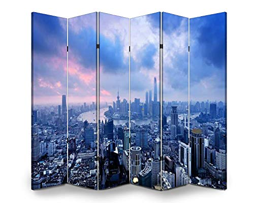 Wood Screen Room Divider shanghai panoramic skyline pink clouds stock pictures, royalty free Folding Screen Canvas Privacy Partition Panels Dual-Sided Wall Divider Indoor Display Shelves 6 Panels
