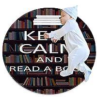 エリアラグ軽量 落ち着いてポスターを読んでください フロアマットソフトカーペット直径27.6インチホームリビングダイニングルームベッドルーム