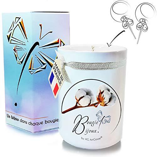 AG ArtGosse - Vela de Joyas Little 170 ml, Flor de algodón, Regalo de Cristal de Swarovski Elements para Mujer, Ambiente de Fiesta de cumpleaños, Caja de Pendientes