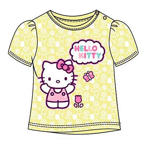 Maglietta da Bambina Hello Kitty Rosa, Bianca o Gialla 3-6-12-18-24 Mesi in Cotone con Licenza Sanrio. (Giallo, cm 62)