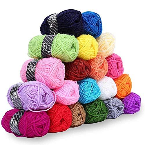 Knitting Yarn (20 Pack) - 25 Grams, 40 metres per Bundle - Assorted Colour Crochet Yarn - Acrylic...