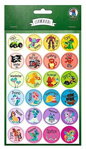 Ursus 59510020F Sticker, Motivation, 96 Sticker mit motivierenden Worten für Kinder, Durchmesser ca. 2,5 cm, selbstklebend, ideal für Scrapbookung, Kartengestaltung und zur Dekoration