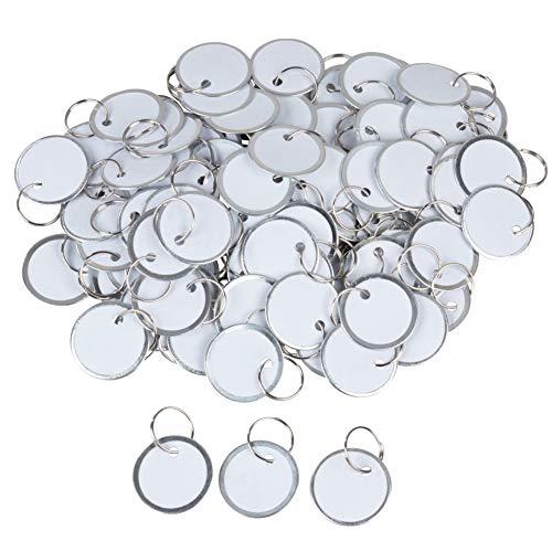 Paper Key Tags - 100 Pack Paper Key ID Label Name Tags with Split Ring, Keychain, Rim Tag Small Coded Tag Key Chain Keyring Set for Kids Backpack, Luggage, Pets, White, 1.2 Inches in Diameter