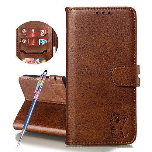 Finemoco Hülle für Xiaomi Mi Max 3 Leder Handyhülle Flip Hülle Premium PU mit Brieftasche Schutzhülle Braun Katze Folie Cover Silikon Bumper 360 Grad Handytasche Magnetisch Standfunktion Tasche