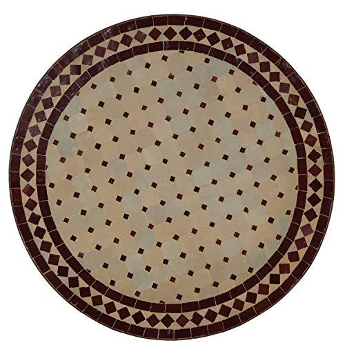 Mesa de jardín mediterránea   Mosaico marroquí ' Rombo burdeos '   Diámetro 60 cm con marco de...